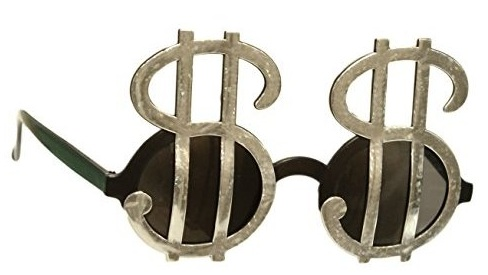 Funky Silver Money Sign Sunglasses