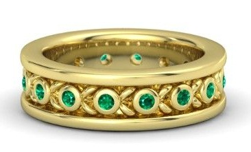 Golden Emerald Ring for Men