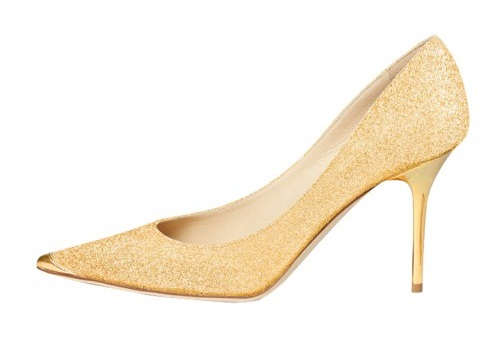 Golden Glitter Stilettos for Women