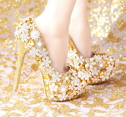 Golden heels Bridal shoes