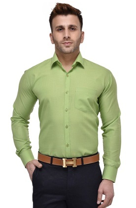 Green Formal Wear Men Shirt