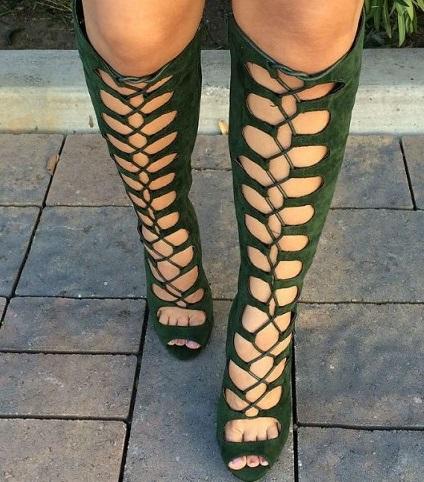 Green Gladiator Women Shoes
