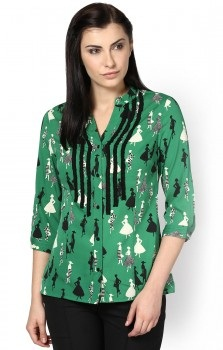 Green Printed Women Shirts