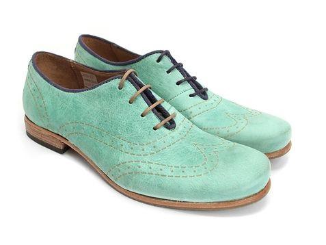 Green Wingtip men shoes
