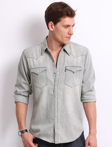 Grey Denim Shirts for men