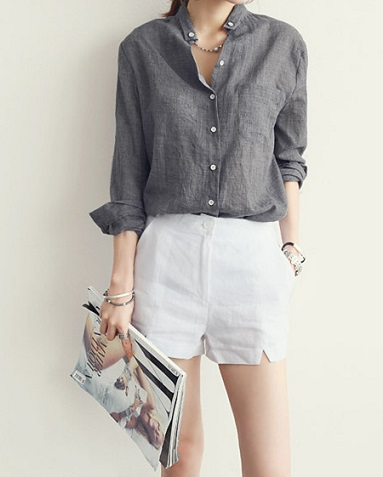 Grey Linen Shirt for women