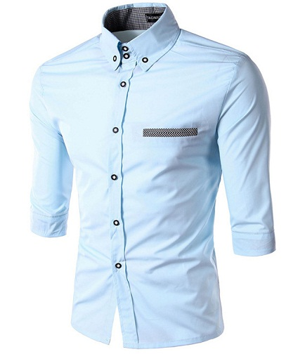 Half Sleeve Slim Fit Blue Shirt