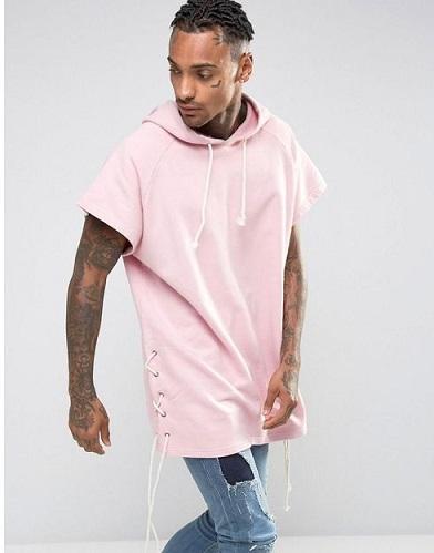 Half sleevedMen's pink sweatshirt