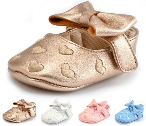 Heart shape Golden Toddler Shoe