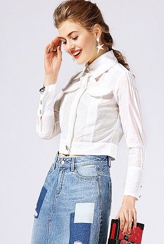 High Waist White Shirt
