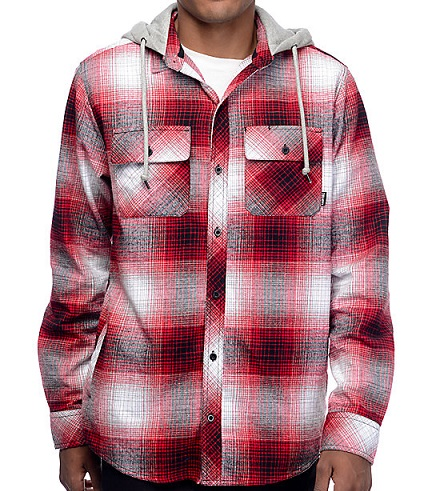 Hooded men's flannel shirt