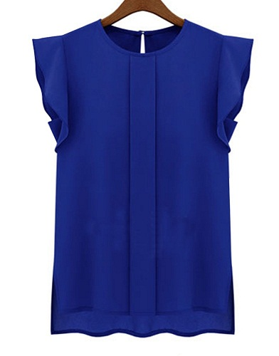 Latest Deep Blue Round Neck Sleeveless for Women