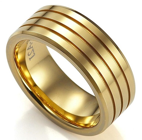layered gold weddiing rings for men