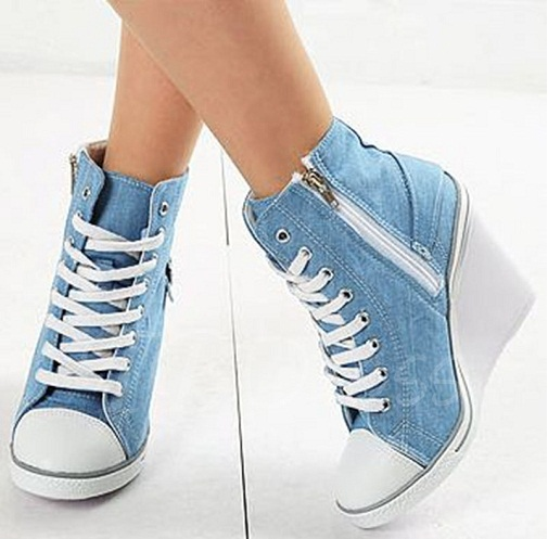 Light Blue Denim Sneakers with Wedges Heel