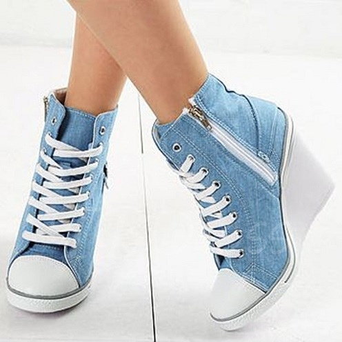 Light Blue Denim Wedge Shoes