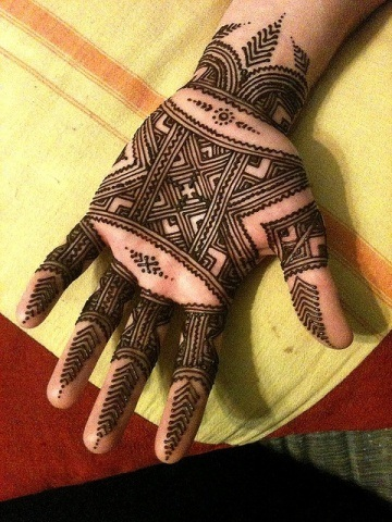 Lining and Boxes Palm Mehndi