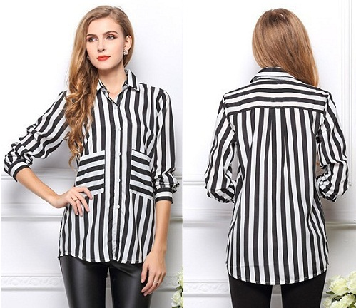 Long Sleeve Stripped Button Down Shirts for Women10