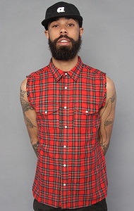 Men's Broad Check Sleeveless Shirt