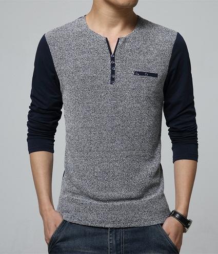 Men's Smart V Neck Long Shirts