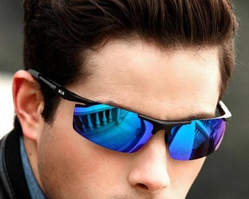 Men's Sporty Blue Sunglasses