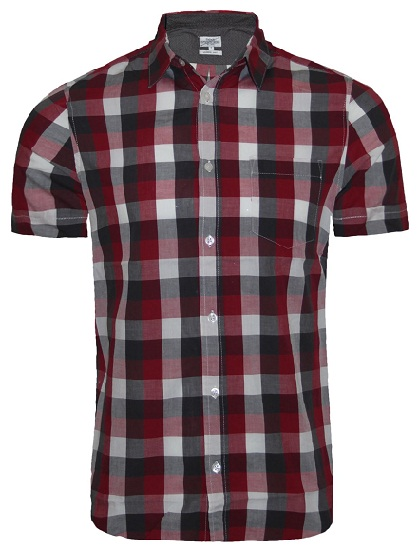 Men Broad Check Short Sleeve Shirt