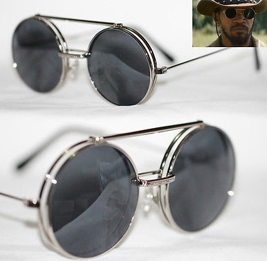 Metal Silver Flip up Round Sunglasses for Men