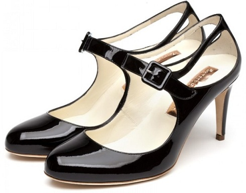 Mid heel black shoes for women