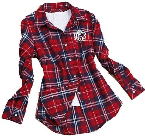 Monogrammed women's flannel shirt