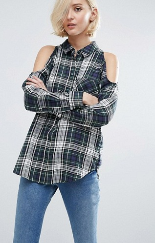 Off Shoulder Checked Shirt