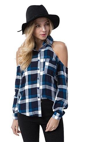 Off-shoulder collared plaid shirt - Copy