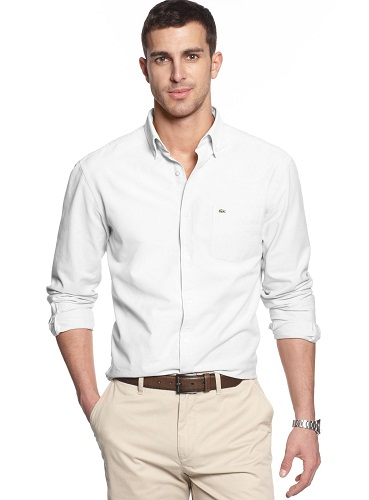 Office Wear White Button Down Shirts for Men