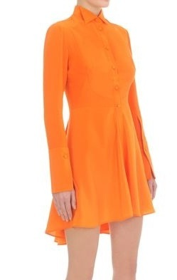 Orange ruffled tuxedo dress