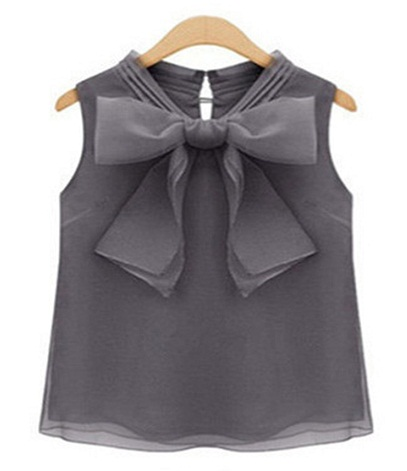 Party Wear Big Bow Sleeveless Shirts for Girls