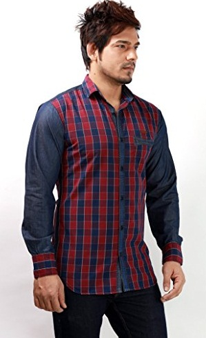 Party Wear Check Pattern Long Sleeve Shirts for Men