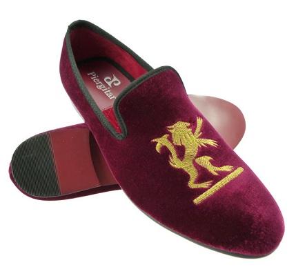 Party Wear Red Velvet Shoes for Men