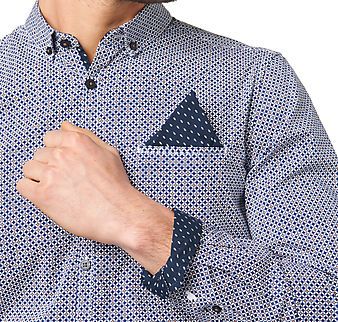 Patterned Pocket Stylish Collar Men's Shirt
