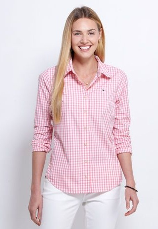 Pink Checked Pattern Button Down Shirts for Girls
