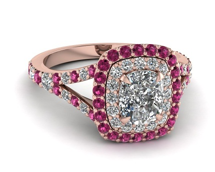 Pink Sapphire Cushion Cut Engagement rings
