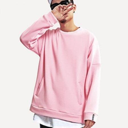 Pink pullover Men's sweatshirt