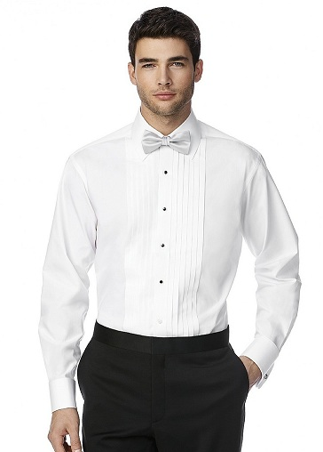 Pleated front tuxedo shirt