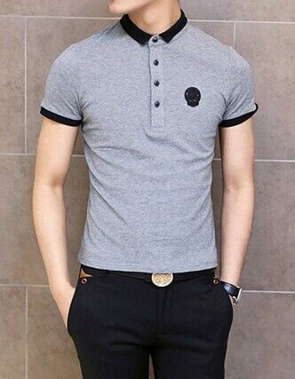 Polo neck Grey t shirts for men
