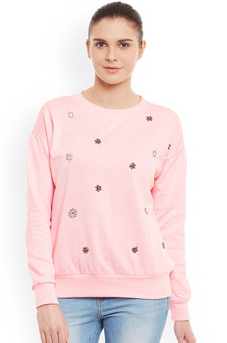 Printed Pink Women's Sweatshirt