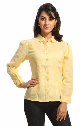 Puff sleeve yellow shirt for women