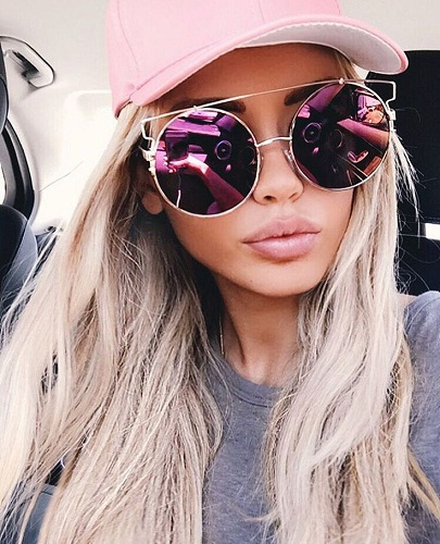 Purple Oversized Lens Sunglasses