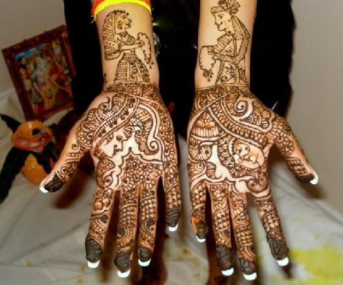 Rajasthani Style Dulha-Dulhan Mehndi Design