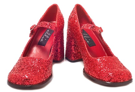 Red Glitter Party Wear Shoes for Women