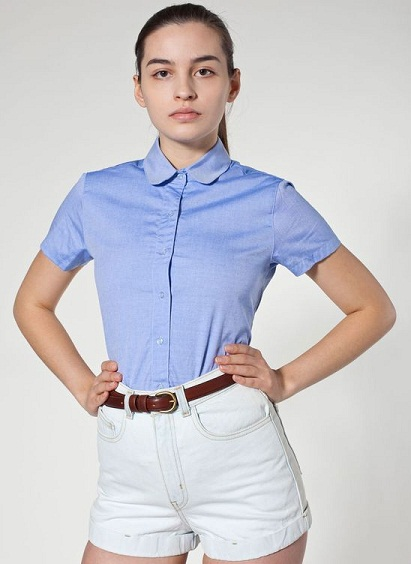 Round Collar Short Sleeve Shirts for Women