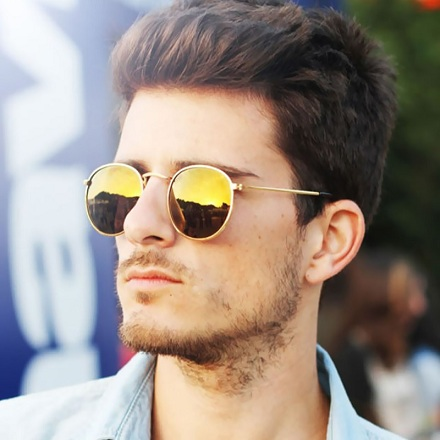 Round Frame Mirrored Sunglasses for Men