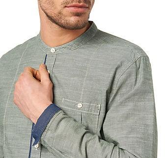 Round Neckline Long Sleeved Men's Shirt