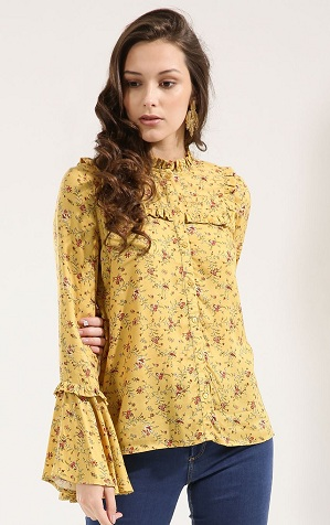 Ruffle yellow shirt 14